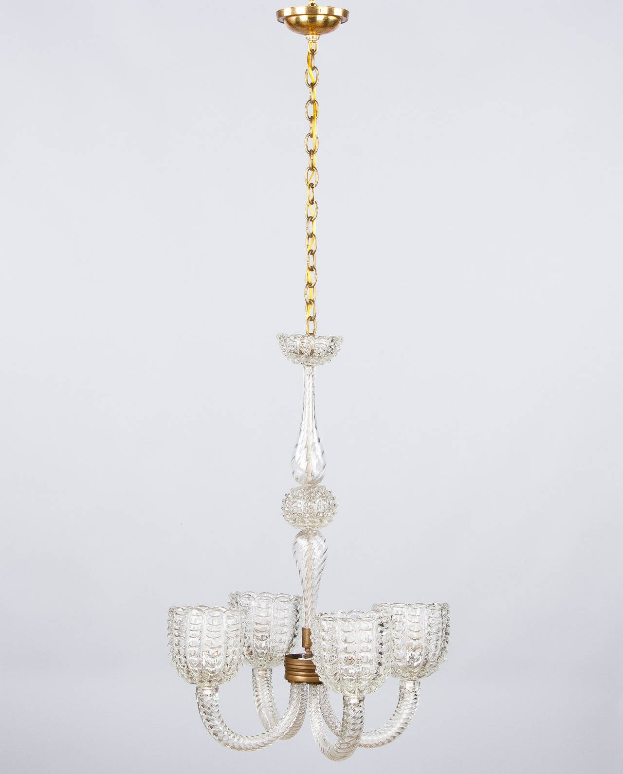 1940s Italian Murano Glass Chandelier By Barovier For Sale