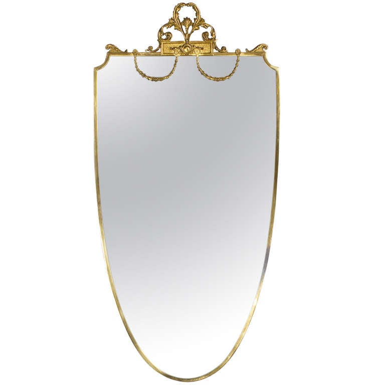 French Louis XVI Style Shield Shape Brass Mirror, 20th Century 1