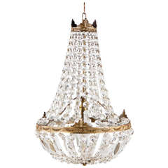 French Empire Style Montgolfier Crystal Chandelier, 1920s