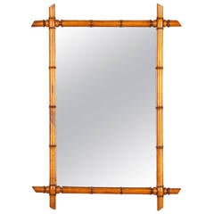 French Faux-Bamboo Style Mirror, circa 1920s