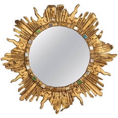 Vintage French Solid Brass Sunburst Mirror, 1960s