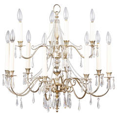 French Midcentury Silver Plated Chandelier with Crystals