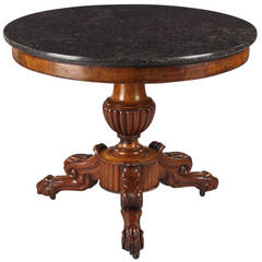 French Napoleon III Marble-Top Pedestal Table, 1870s