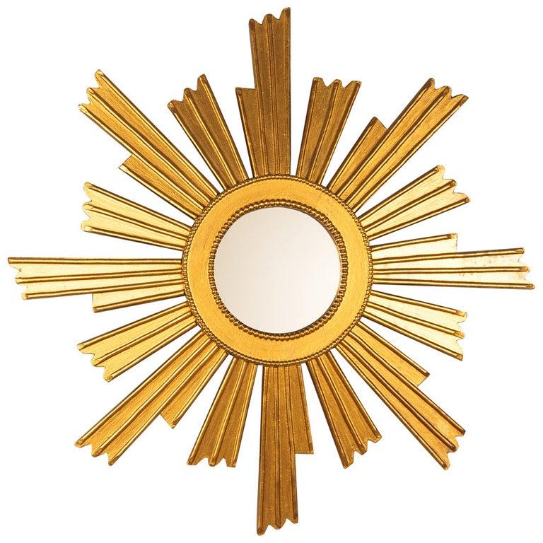 French Vintage Giltwood Sunburst Mirror, 1950s