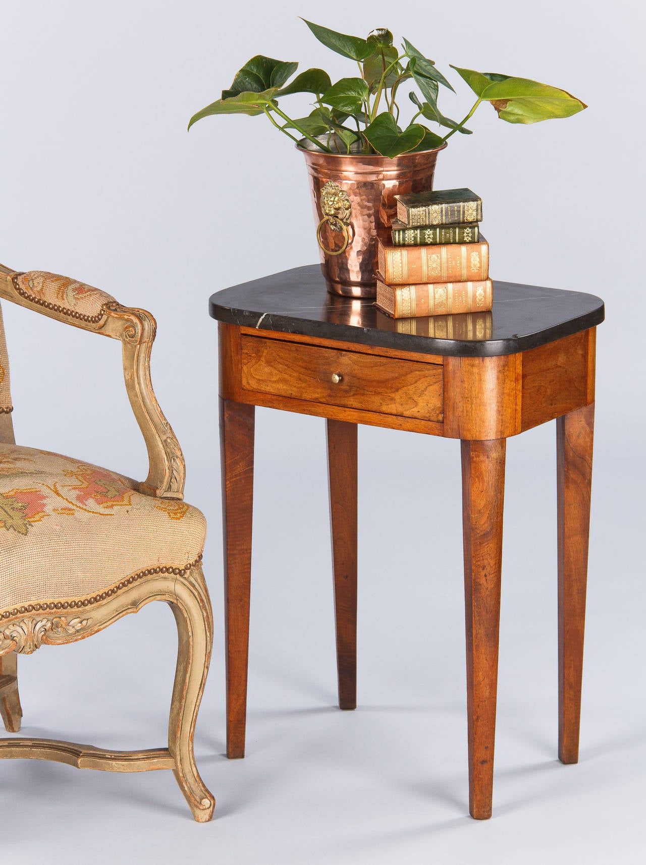 19th century french louis philippe marble top side table for Table louis philippe