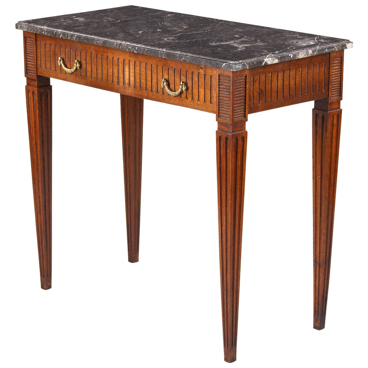 french louis xvi style cherrywood side table with marble. Black Bedroom Furniture Sets. Home Design Ideas
