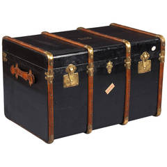 1900s French Black Traveling Trunk