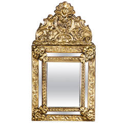 French Napoleon III Gilded Metal Repousse Mirror, 1870s