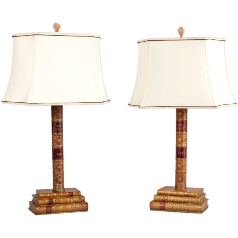 Pair of Leather Book Table Lamps from England, 1950s 1