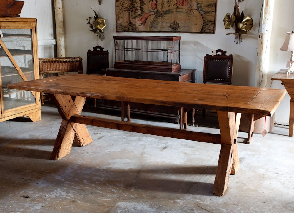 French country rustic farm dining table at 1stdibs for Dining tables rustic farmhouse