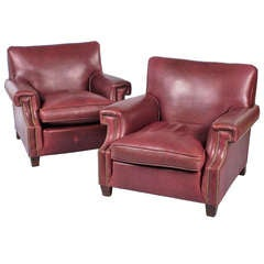 Pair of French Vintage Leather Armchairs, 1960s