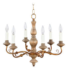 Italian Painted Wood and Gilt Metal Chandelier