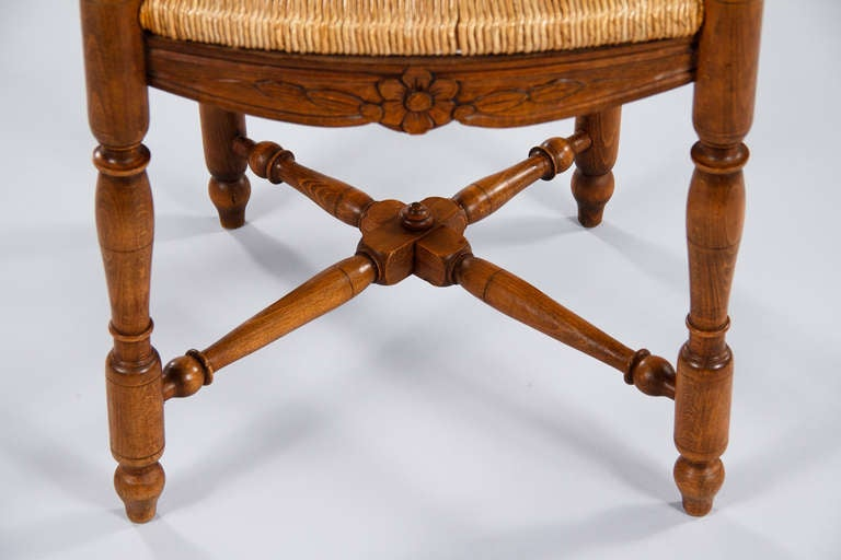 set of six french country rush seat chairs 1920s at 1stdibs