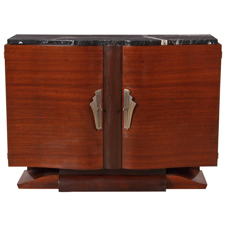 French Art Deco Rosewood Buffet with Marble Top, 1930s
