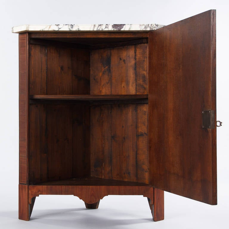 Marble French Louis XVI Style Rosewood Corner Cabinet, 1900s For Sale