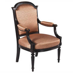 French Napoleon III Ebonized Armchair, 1870s
