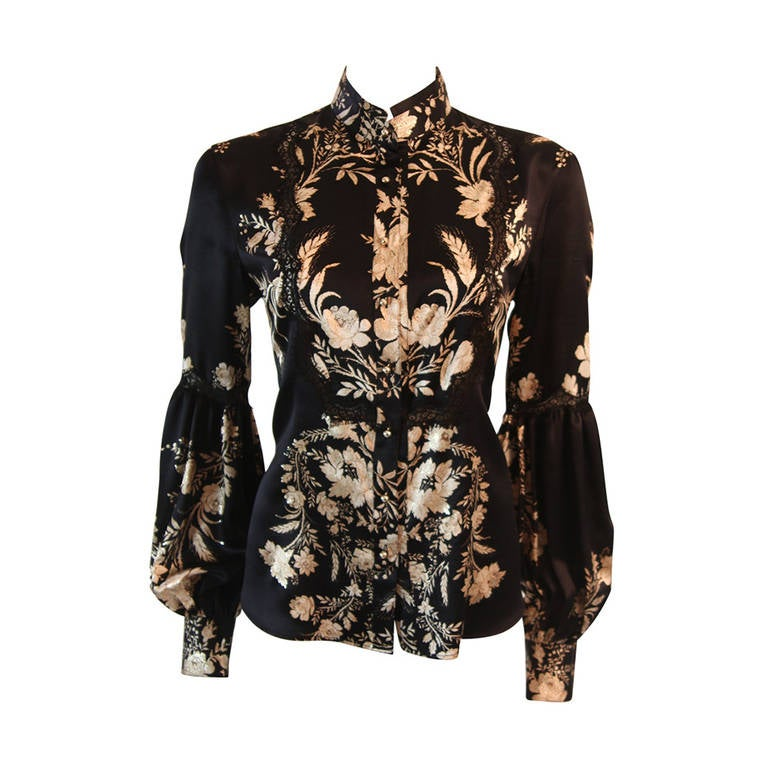 Romantic Roberto Cavalli Black Silk Gold Leaf on Ivory floral Print Blouse 1