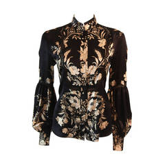 Romantic Roberto Cavalli Black Silk Gold Leaf on Ivory floral Print Blouse
