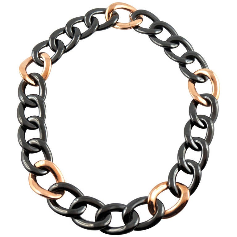 Jona High-Tech Black Ceramic Gold Curb-Link Necklace