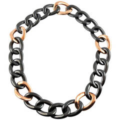 Jona High-Tech Black Ceramic 18k Rose Gold Curb-Link Necklace