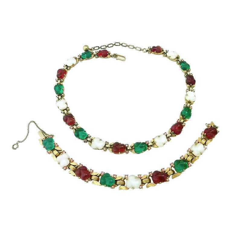 vintage trifari fruit salad necklace and bracelet at
