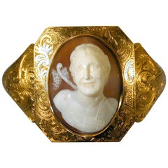 Antique Early Victorian Shell Cameo Gold Bracelet of Pan, circa 1840