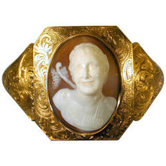 Antique Early Victorian Shell Cameo Gold Bracelet, circa 1840
