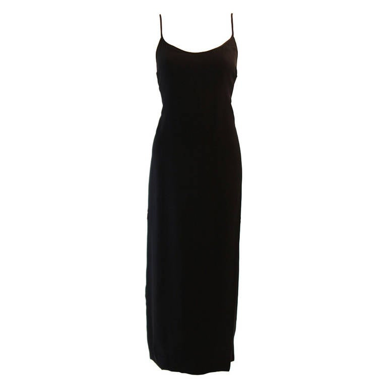 Sleek Galanos Black Silk Spaghetti Strap Slip Gown 1