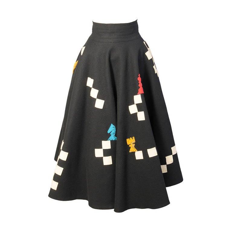 Juli Lynne Charlot Chess Game 1950's Felt Skirt For Sale