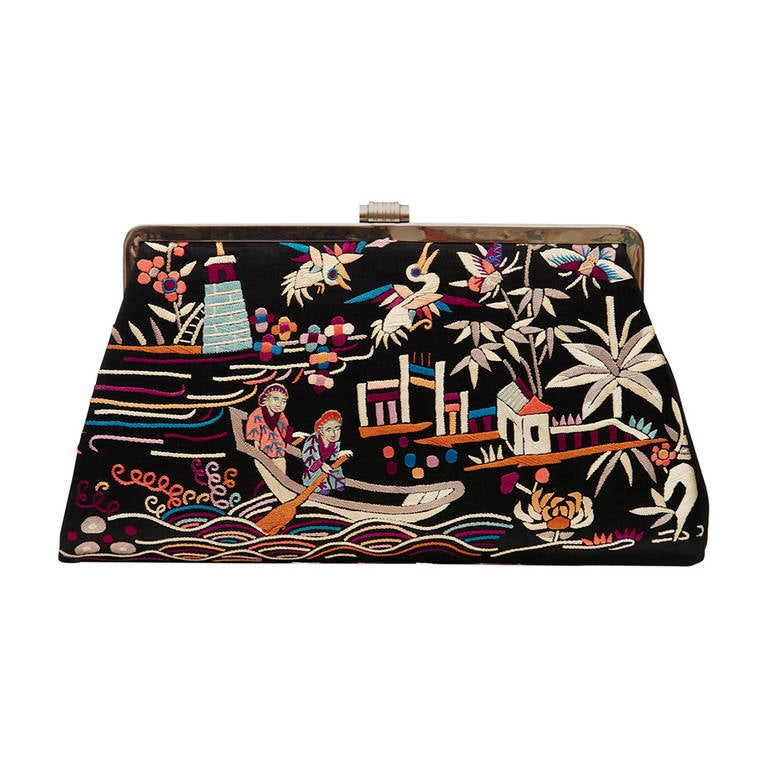 S chinese silk embroidered clutch bag at stdibs