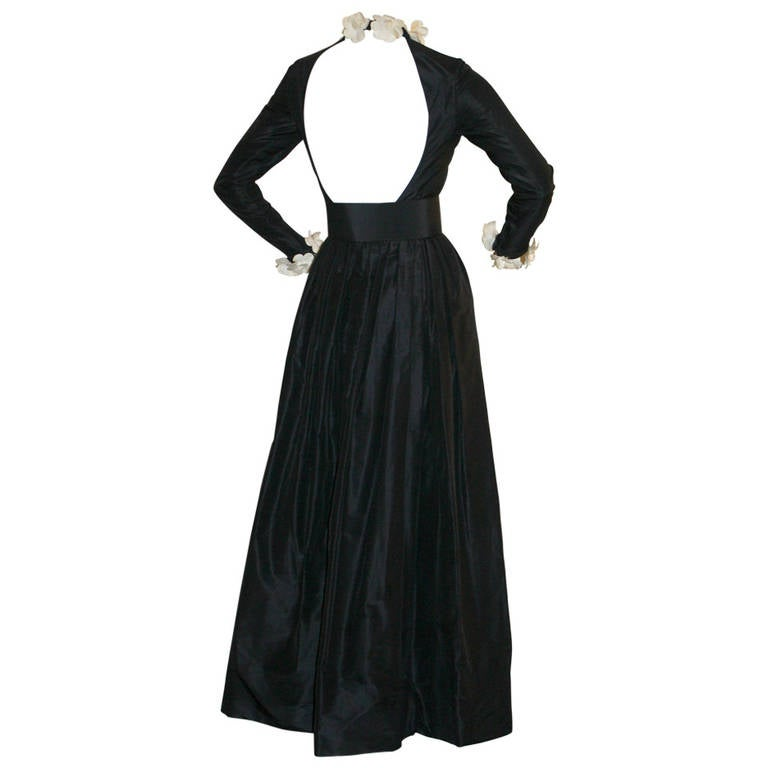 Exceptional  Vintage Bill Blass Black Belted Gown Camellia Flowers