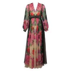1970s Mollie Parnis Boutique floral chiffon maxi dress