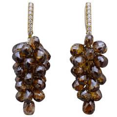 Cognac Color Diamond Briollette Earrings