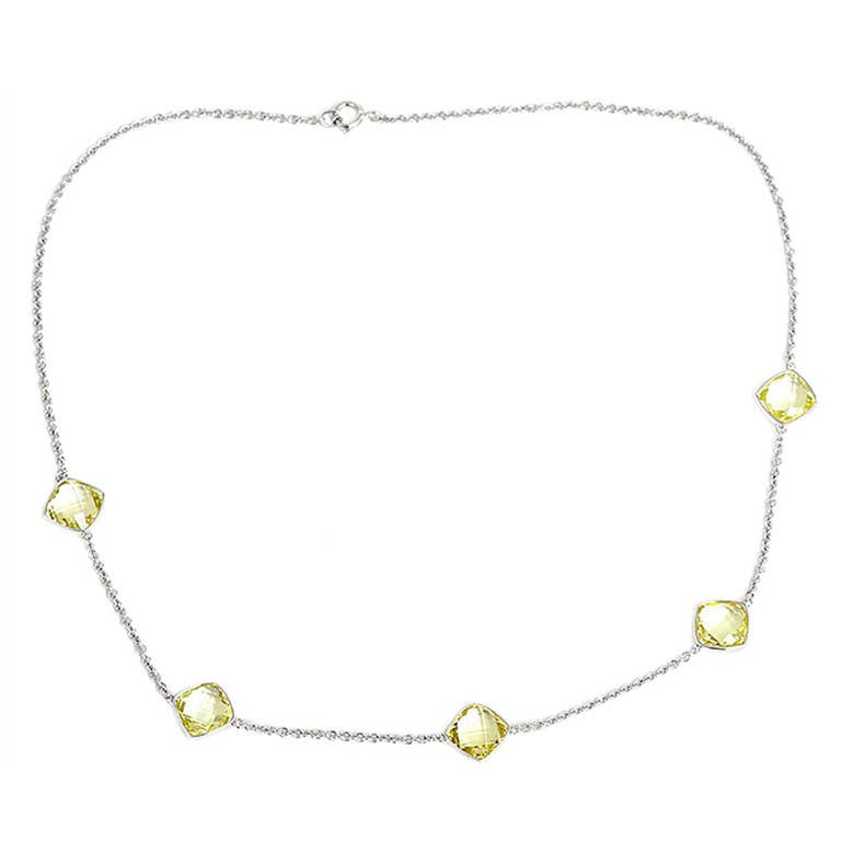 Beautiful Yellow Quartz White Gold Necklace