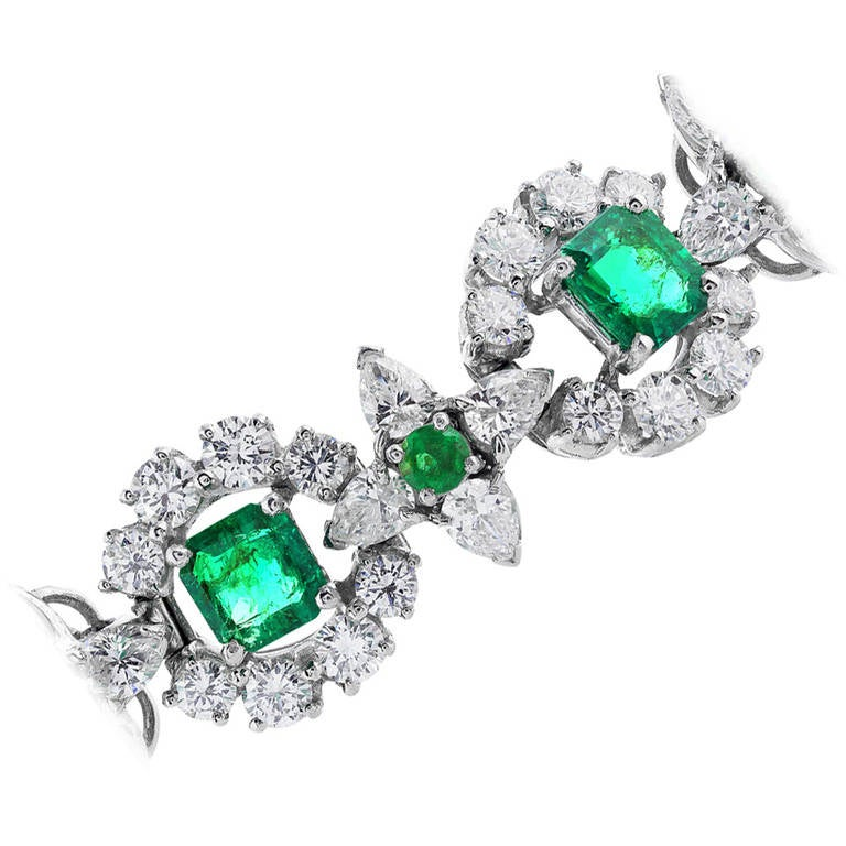 Oscar Heyman Brothers Emerald Diamond Bracelet at 1stdibs
