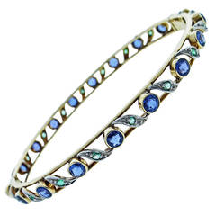 Delightful Antique Sapphire Emerald Bangle Bracelet