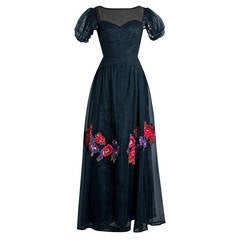 1930's Nat Cantor Floral Applique Net-Tulle Black Illusion Deco Bias-Cut Gown
