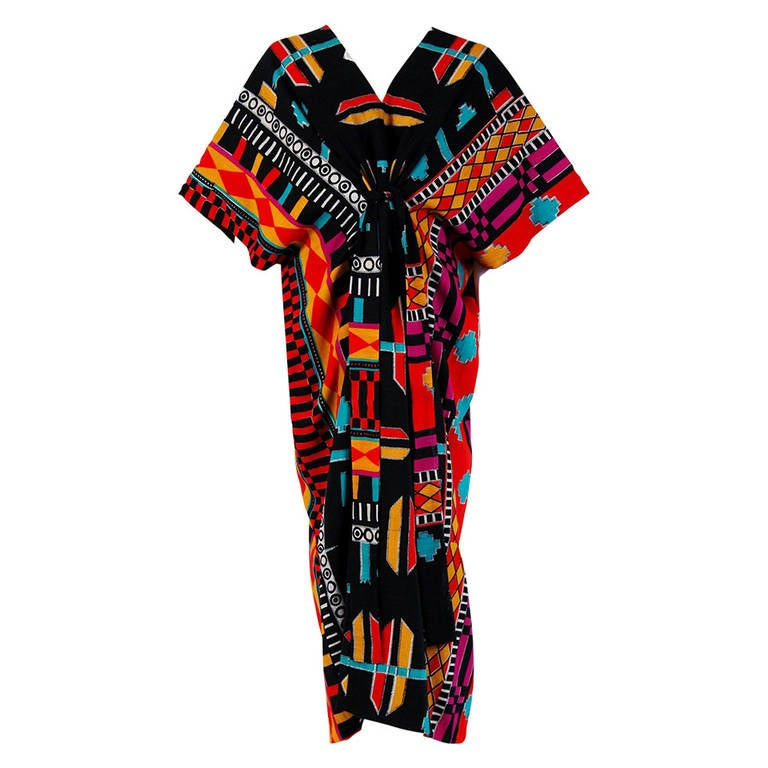 1970's Colorful Ethnic Graphic-Print Belted Cotton Bohemian Caftan Dress 1