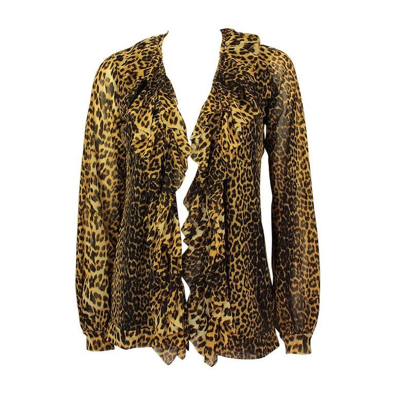 Sheer Cheetah Print Blouse 46