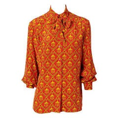 Hermes Silk Blouse With Tie