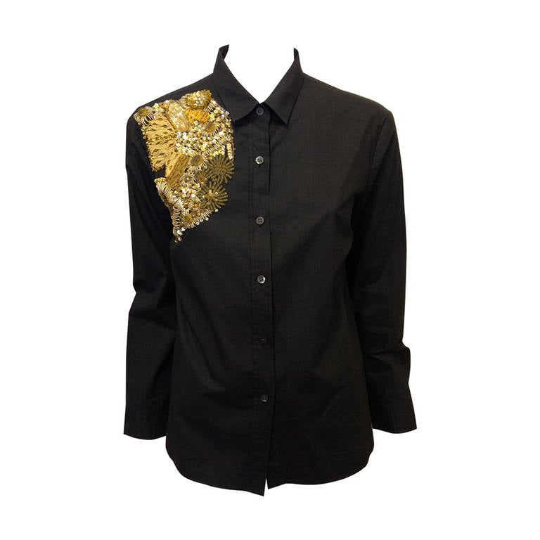 Dries Van Noten Black Embellished Shirt For Sale