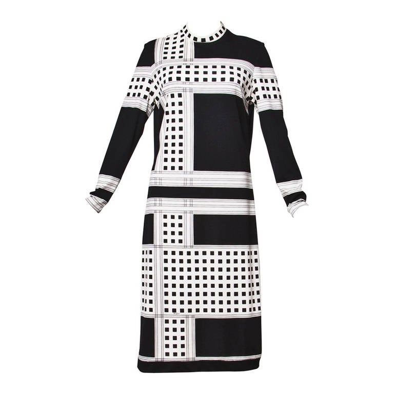 Mr. Dino Signed Black + White Vintage 70s 1970s Op Art Mod Graphic Print Dress 1