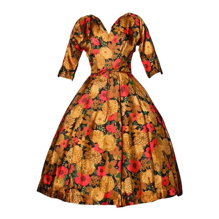 Vintage 1950s 50s Floral Print Silk Full Sweep Cocktail Dress For Sale