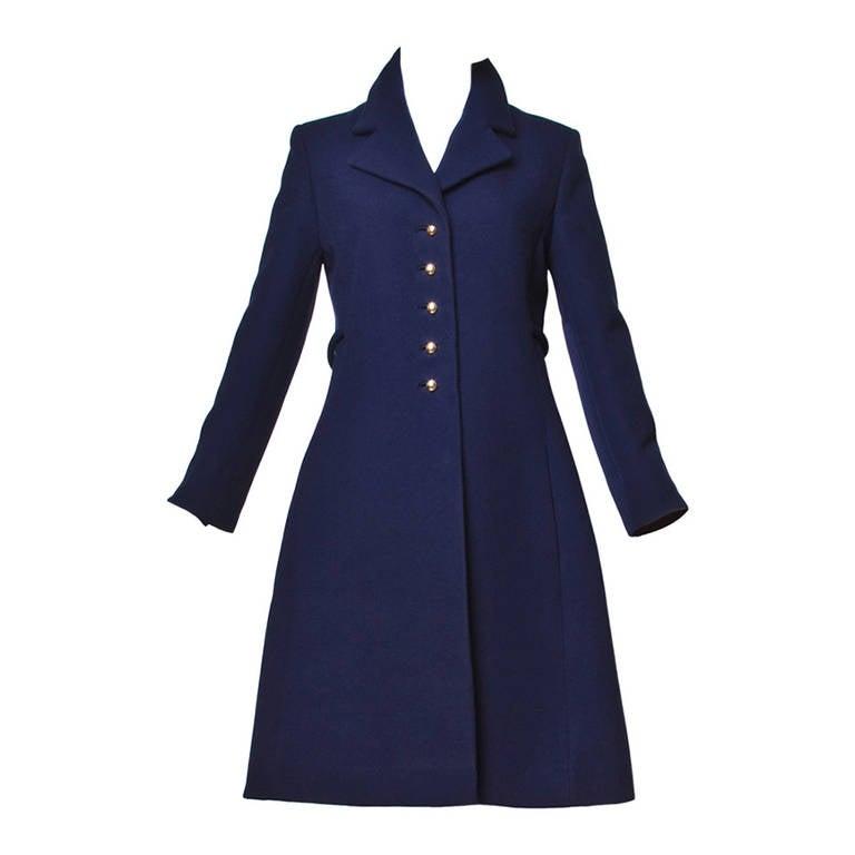 Christian Dior Pristine Vintage 1960s 60s Navy Wool Mod Military Coat 1