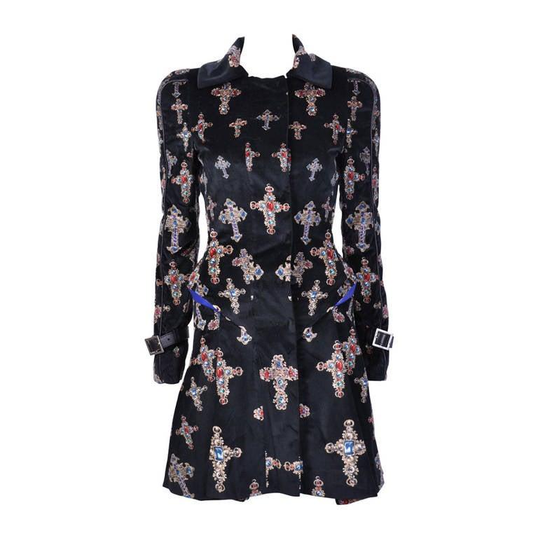 VERSACE Black Velvet Gothic Cross Print Flared Coat For Sale