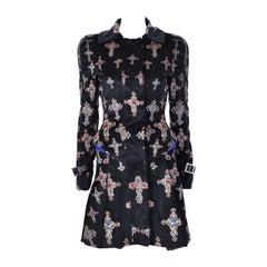 VERSACE Black Velvet Gothic Cross Print Flared Coat