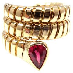 Bulgari Tubogas Ruby Yellow Gold Coil Snake Ring