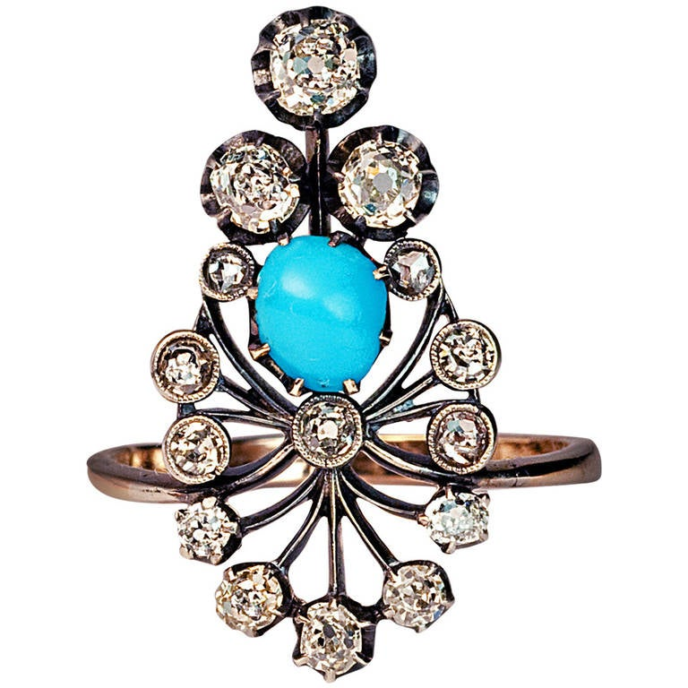 Late 19th Century Turquoise Diamond Silver Gold Ring At