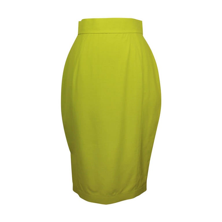 Thierry Mugler Lime Green Pencil Skirt