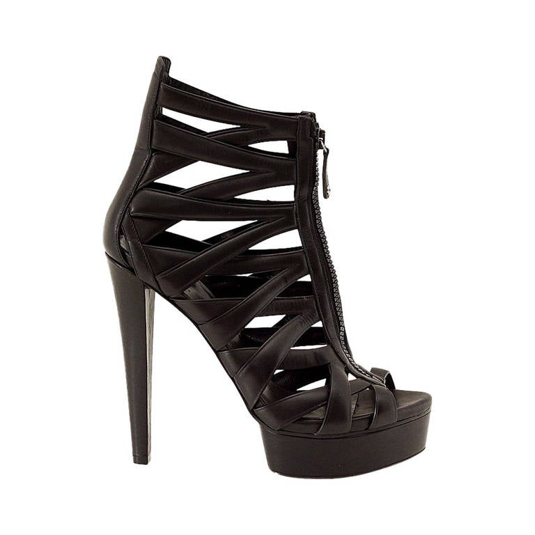 GUCCI shoe cutout leather ankle platform boot 8.5 38.5 Mint For Sale